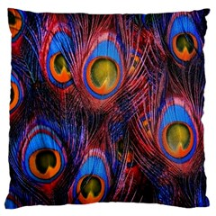 Pretty Peacock Feather Large Flano Cushion Case (one Side)