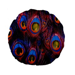 Pretty Peacock Feather Standard 15  Premium Flano Round Cushions by BangZart