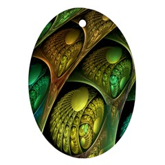 Psytrance Abstract Colored Pattern Feather Ornament (oval)