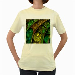Psytrance Abstract Colored Pattern Feather Women s Yellow T Shirt
