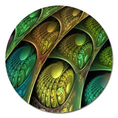 Psytrance Abstract Colored Pattern Feather Magnet 5  (round) by BangZart