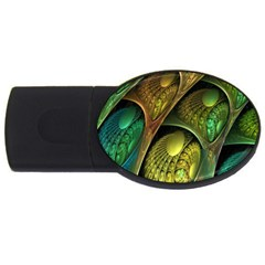 Psytrance Abstract Colored Pattern Feather Usb Flash Drive Oval (2 Gb)