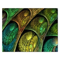 Psytrance Abstract Colored Pattern Feather Rectangular Jigsaw Puzzl