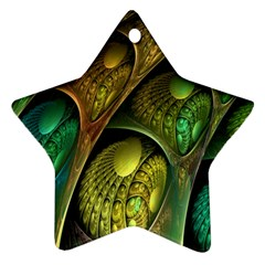 Psytrance Abstract Colored Pattern Feather Star Ornament (two Sides)