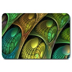 Psytrance Abstract Colored Pattern Feather Large Doormat