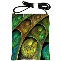 Psytrance Abstract Colored Pattern Feather Shoulder Sling Bags by BangZart
