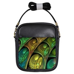 Psytrance Abstract Colored Pattern Feather Girls Sling Bags by BangZart