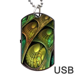 Psytrance Abstract Colored Pattern Feather Dog Tag Usb Flash (one Side)