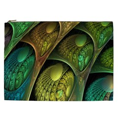 Psytrance Abstract Colored Pattern Feather Cosmetic Bag (xxl)  by BangZart