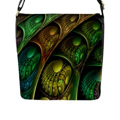 Psytrance Abstract Colored Pattern Feather Flap Messenger Bag (l)  by BangZart