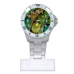 Psytrance Abstract Colored Pattern Feather Plastic Nurses Watch