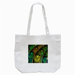 Psytrance Abstract Colored Pattern Feather Tote Bag (white)