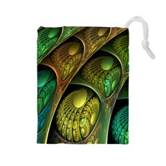 Psytrance Abstract Colored Pattern Feather Drawstring Pouches (large)  by BangZart