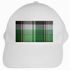 Plaid Fabric Texture Brown And Green White Cap
