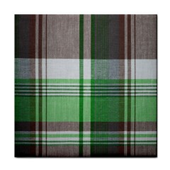 Plaid Fabric Texture Brown And Green Tile Coasters