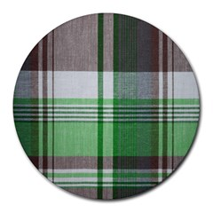 Plaid Fabric Texture Brown And Green Round Mousepads by BangZart
