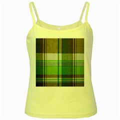 Plaid Fabric Texture Brown And Green Yellow Spaghetti Tank by BangZart