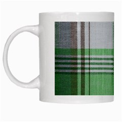 Plaid Fabric Texture Brown And Green White Mugs by BangZart
