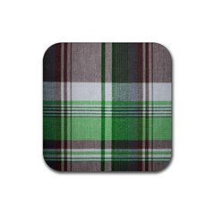Plaid Fabric Texture Brown And Green Rubber Square Coaster (4 Pack)  by BangZart