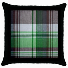 Plaid Fabric Texture Brown And Green Throw Pillow Case (black) by BangZart