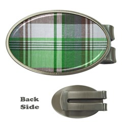 Plaid Fabric Texture Brown And Green Money Clips (oval)