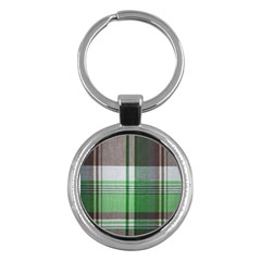 Plaid Fabric Texture Brown And Green Key Chains (round)