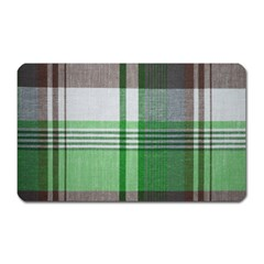 Plaid Fabric Texture Brown And Green Magnet (rectangular)