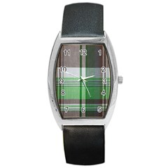 Plaid Fabric Texture Brown And Green Barrel Style Metal Watch by BangZart