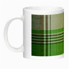 Plaid Fabric Texture Brown And Green Night Luminous Mugs by BangZart