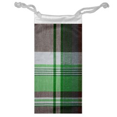 Plaid Fabric Texture Brown And Green Jewelry Bag