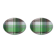 Plaid Fabric Texture Brown And Green Cufflinks (oval)