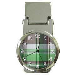 Plaid Fabric Texture Brown And Green Money Clip Watches by BangZart