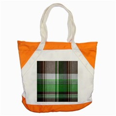 Plaid Fabric Texture Brown And Green Accent Tote Bag by BangZart