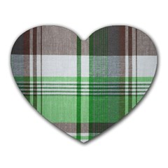 Plaid Fabric Texture Brown And Green Heart Mousepads