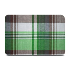 Plaid Fabric Texture Brown And Green Plate Mats by BangZart