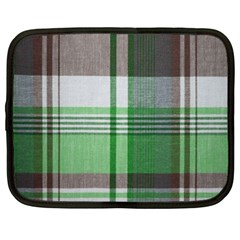 Plaid Fabric Texture Brown And Green Netbook Case (large)