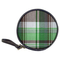 Plaid Fabric Texture Brown And Green Classic 20 Cd Wallets