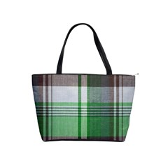 Plaid Fabric Texture Brown And Green Shoulder Handbags by BangZart