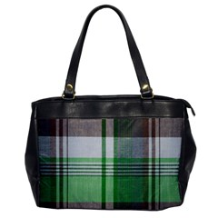 Plaid Fabric Texture Brown And Green Office Handbags by BangZart