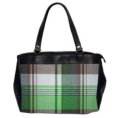 Plaid Fabric Texture Brown And Green Office Handbags (2 Sides)