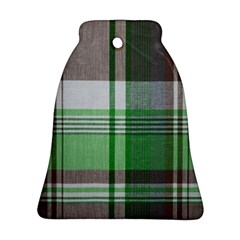 Plaid Fabric Texture Brown And Green Bell Ornament (two Sides)
