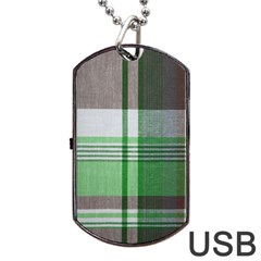 Plaid Fabric Texture Brown And Green Dog Tag Usb Flash (two Sides) by BangZart
