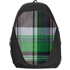 Plaid Fabric Texture Brown And Green Backpack Bag by BangZart