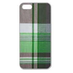 Plaid Fabric Texture Brown And Green Apple Seamless Iphone 5 Case (clear)