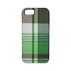 Plaid Fabric Texture Brown And Green Apple Iphone 5 Classic Hardshell Case (pc+silicone) by BangZart