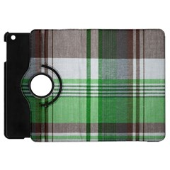 Plaid Fabric Texture Brown And Green Apple Ipad Mini Flip 360 Case