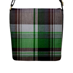 Plaid Fabric Texture Brown And Green Flap Messenger Bag (l)  by BangZart