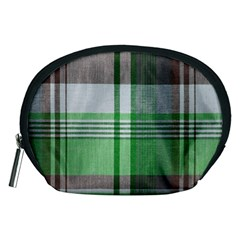 Plaid Fabric Texture Brown And Green Accessory Pouches (medium)