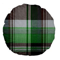 Plaid Fabric Texture Brown And Green Large 18  Premium Flano Round Cushions by BangZart
