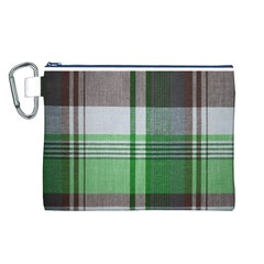 Plaid Fabric Texture Brown And Green Canvas Cosmetic Bag (l) by BangZart